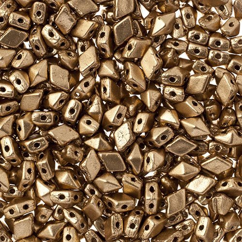 27888121-09 Czech Shaped Beads - 2 Hole Mini DiamonDuo - Matte Gold (25 grams)