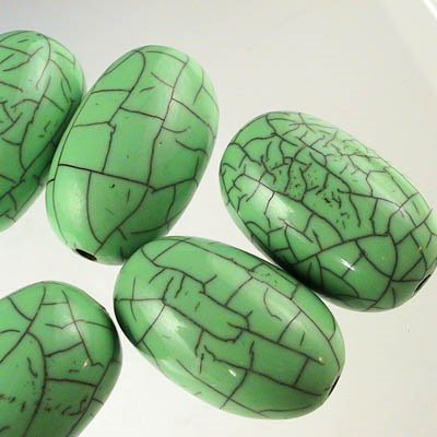 28400740-06 Resin Beads - 20 x 32 mm Crackle Gooseberries - Mint (1) - <font color=