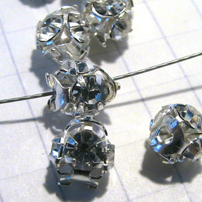 """30401019 Rhinestone Ball - 6 mm 4 Rhinestone Ball - Crystal / Silver <font color=""""#FF0000"""">Managers LAST CALL </font> 80% off!"""