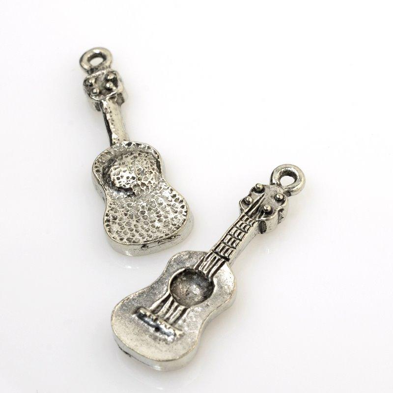 32601154 Charm/Pendant - Guitar - Antiqued Silver