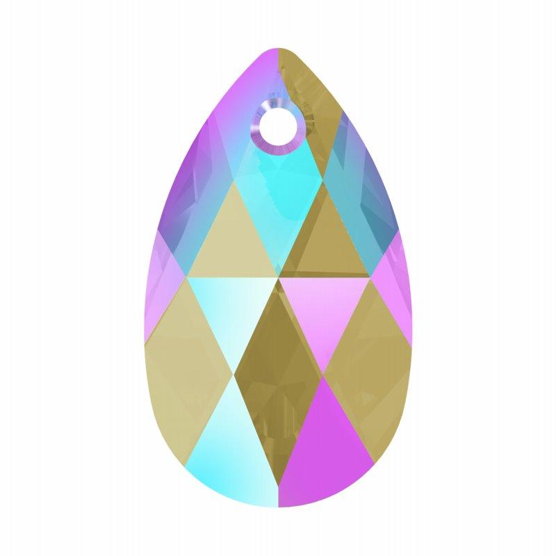 347062-035 Swarovski Pendant - 22 mm Pear (Article 6106) - Black Diamond Shimmer