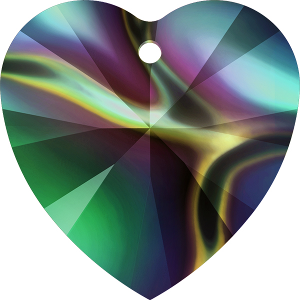 347080-078 Swarovski Pendant - 10 mm Heart (Article 6228) - Crystal Rainbow Dark