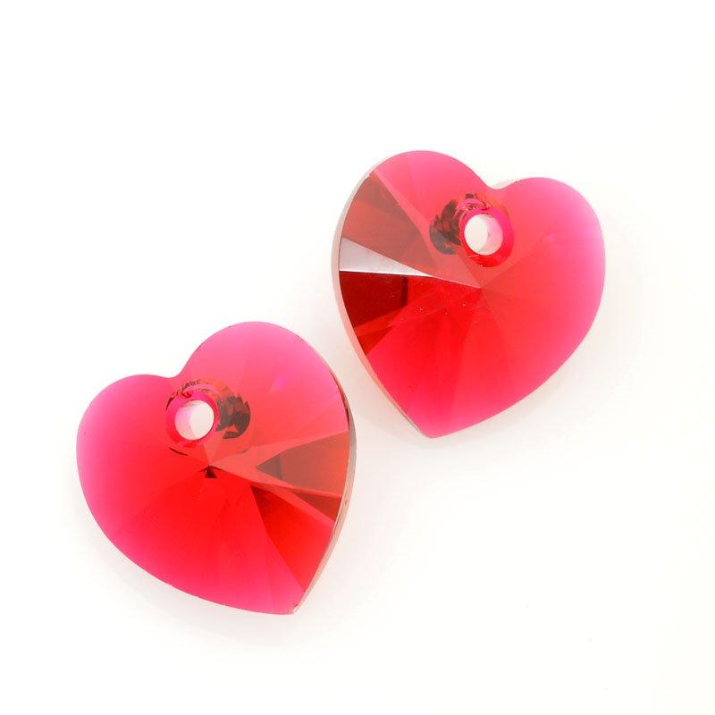 347080-091 Swarovski Pendant - 10 mm Faceted Xilion Heart (6228) - Scarlet