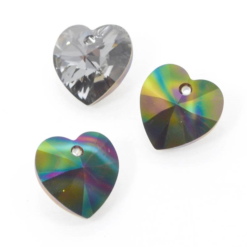 347081-075 Swarovski Pendant - 14 mm Heart (Article 6228) - Crystal Rainbow Dark
