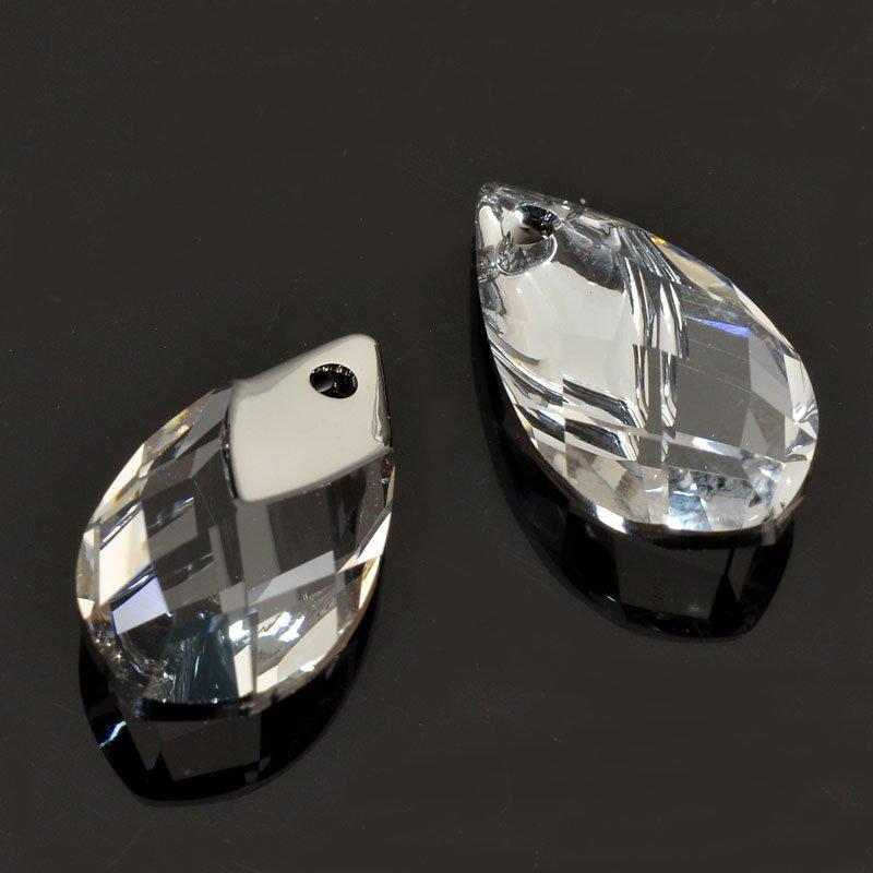 347258-001 Swarovski Pendant - 18 mm Light Chrome Capped Drop Pendant (6565) - Crystal