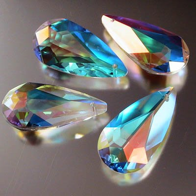 34761001009001 Swarovski Elements Pendant - 12 x 24 mm Flat Teardrop (6100) - Crystal AB (1)