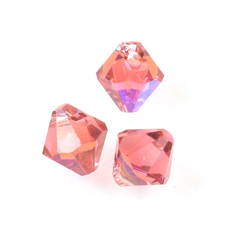 3476301s30386 Swarovski Elements - 6 mm Top-Drilled Bicone (6301) - Padparadscha AB2x (1)