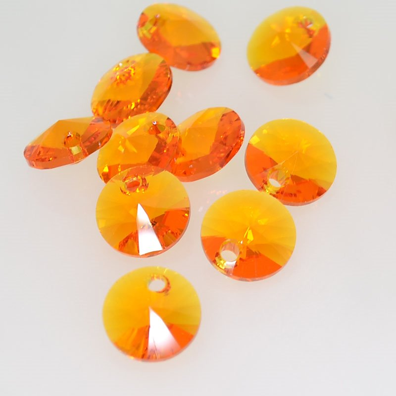 34764281025259 Swarovski Pendant - 8 mm Xilion Rivoli Drops (6428) - Tangerine (1)