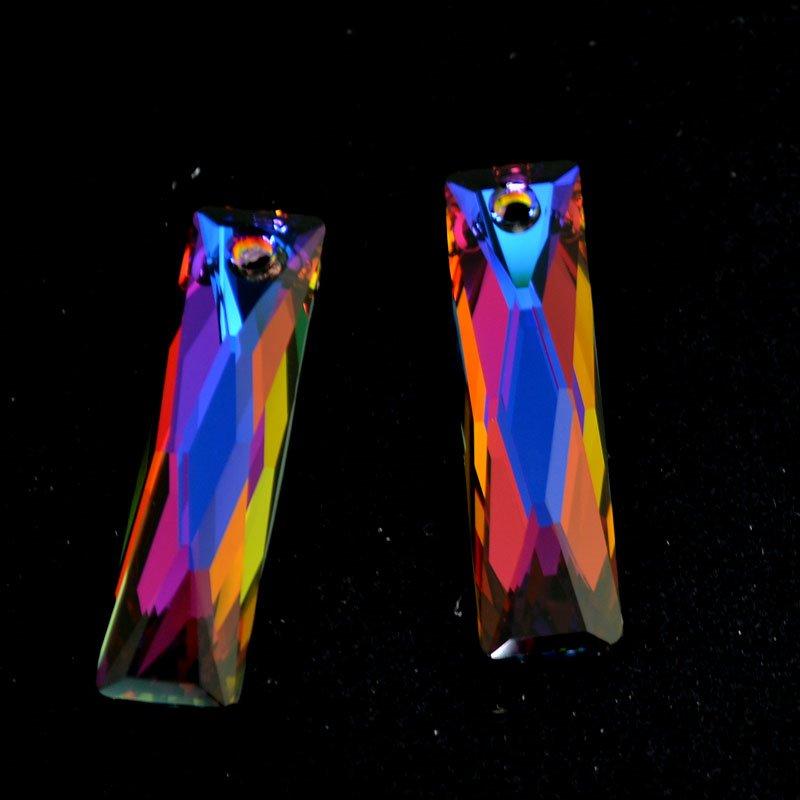 34764653830004 Swarovski Crystal Pendant - 10 x 38 mm Queen Baguette (6465) - Crystal Volcano (1)