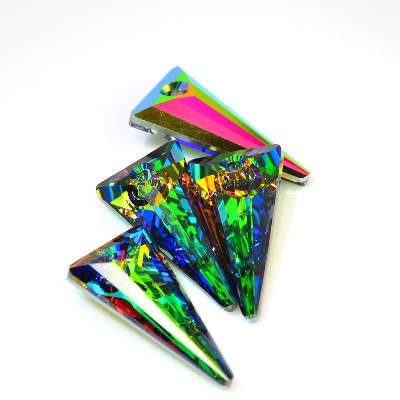 34764802830002 Swarovski Pendant - 28 mm Spike Pendant (6480) - Crystal Medium Vitrail (1)