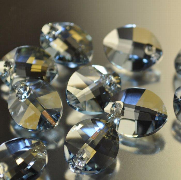 34767341021003 Swarovski Elements Pendant - 14 mm Pure Leaf (6734) - Crystal Blue Shade (1)