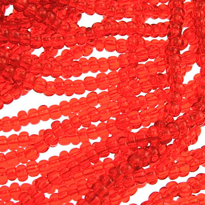 65001198 Czech Seedbeads - 10/0 Seedbead - Transparent Orange (hank)