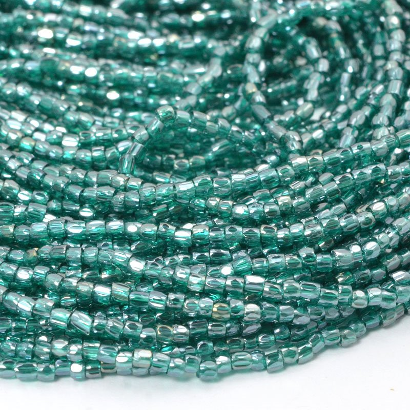 6710038S Czech Seedbeads - 9/0 3-Cut Rocailles - Transparent Teal Luster (hank)