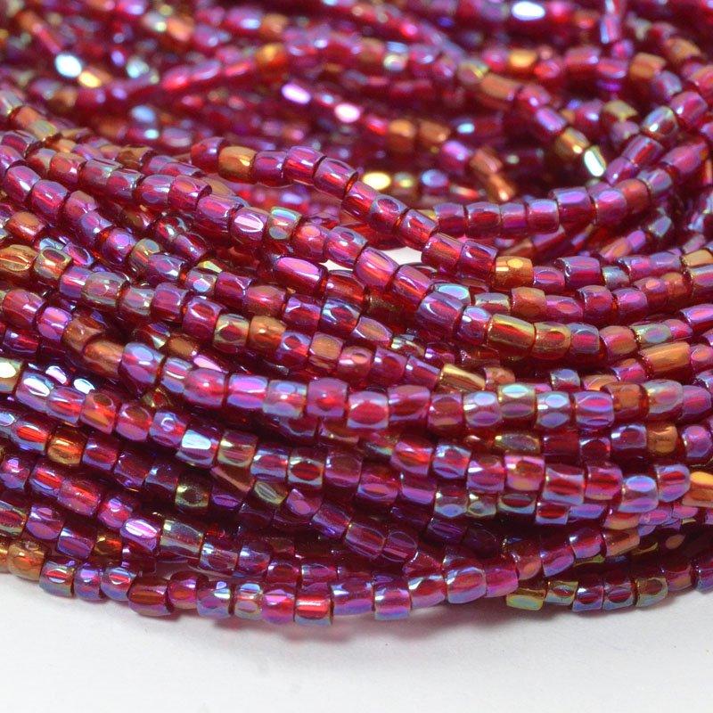 6710043S Czech Seedbeads - 9/0 3-Cut Rocailles - Transparent Red Iris (hank)