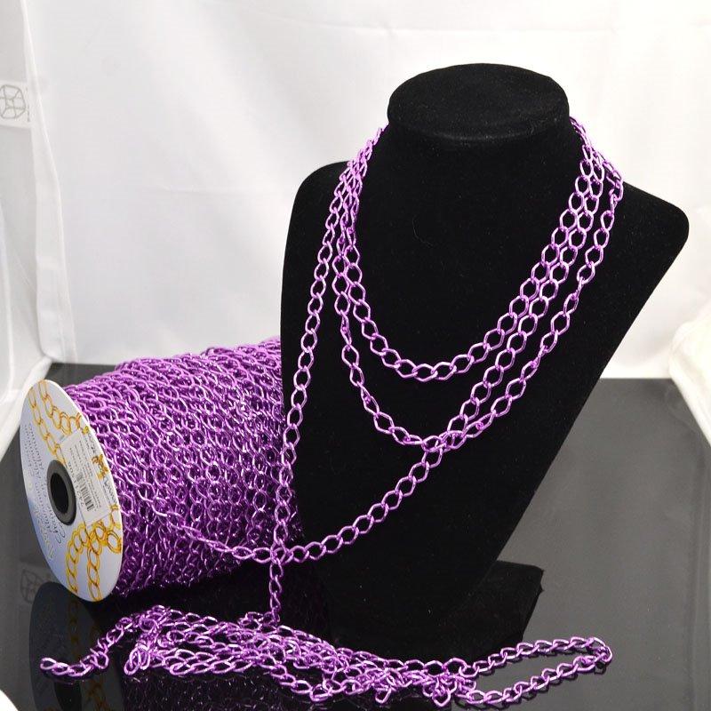 74211506 Chain - 11 x 8 mm Coloured Aluminum Chain - Purple (Metre)