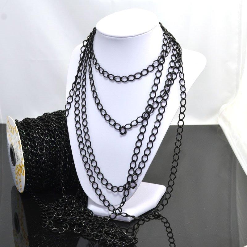 74211508 Chain - 11 x 8 mm Coloured Aluminum Chain - Black (Metre)