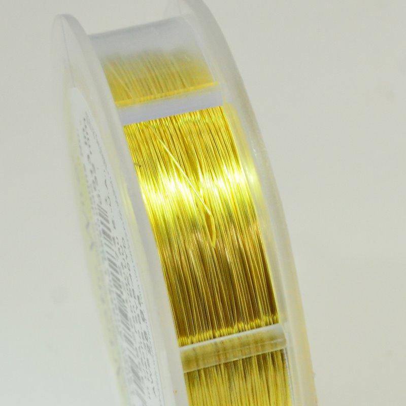 74701014-37 Artistic Wire - 28 gauge Round Wire - Bare Yellow Brass (Spool)