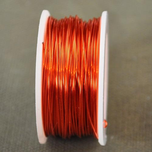 74702001-06 Artistic Wire - 24 gauge Round Wire - Silver Plate - Tangerine (Spool)