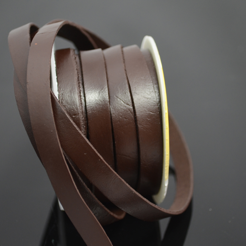 75103001-01 Leather Strip - 10 mm Flat Leather - Dark Chocolate Brown (Inch)