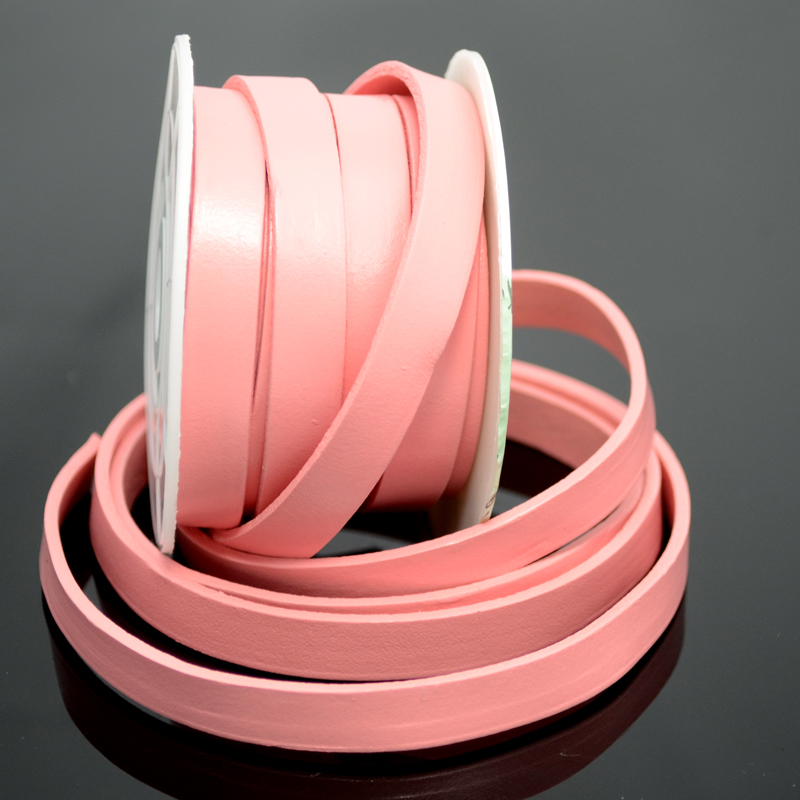 75103001-06 Leather Strip - 10 mm Flat Leather - Pretty Rose Pink (Inch)