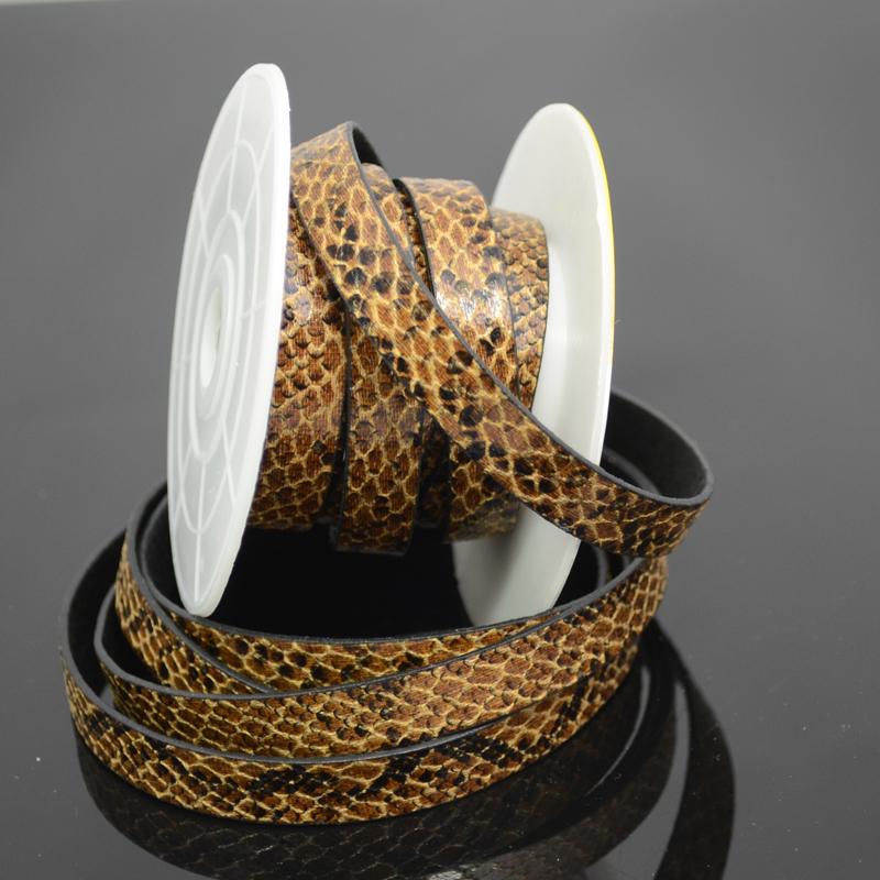 75103003-00 Leather Strip - 10 mm Faux Snake - Desert Dune (Inch)
