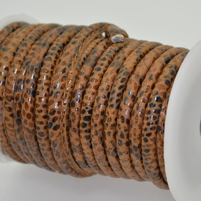 751040001-11 Nappa Leather - 5 mm Round / Stitched Leather Cord - Wood Leopard (Inch)
