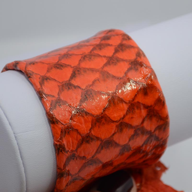 "75135100-11 Second Skin Fish Leather -  Glossy - Tangerine (1) - <font color=""#FF0000"">Discontinued</font> - 60% off!"