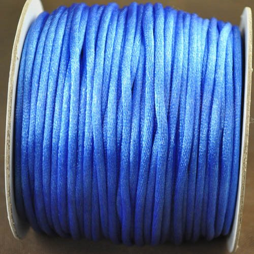 75521665-251 Rattail Cord - 3 mm Satin Moosetail Cord - Blue Bird (yard)