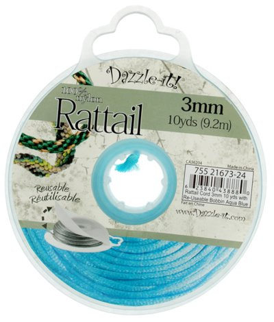 75521673-24 Rattail Cord - 3 mm Satin Fat Rattail Cord - Aqua Blue (10 yard bobbin)