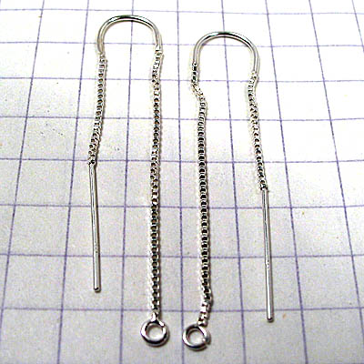 96002007 Sterling Threader Earrings - 50 mm U Curve Box Chain - Sterling (pair)