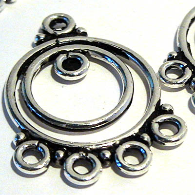96002458 Sterling Earring Chandeliers -  Double Hoops w Multi-Loops - Sterling (pair)