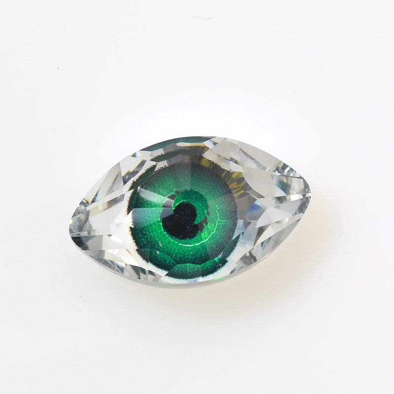 968111-001 Swarovski Crystal Pendant - Evil Eye (Art 4775) - Crystal Green