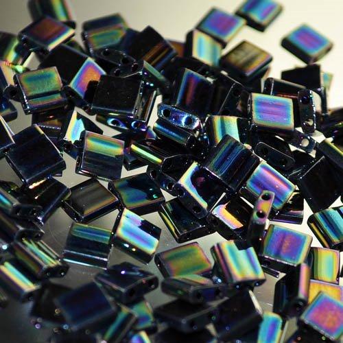 TL0455 Miyuki TILA - 2 Hole Japanese Flat Square - Opaque Metallic Dark Blue Iris