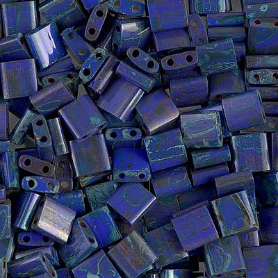 TL4518 Miyuki TILA - 2 Hole Japanese Flat Square - Opaque Lapis/Turquoise Picasso