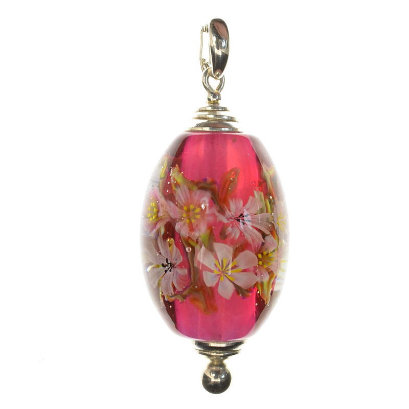 cas59758 Lampwork Bead - OOAK - Barrel - Pink with White Flowers