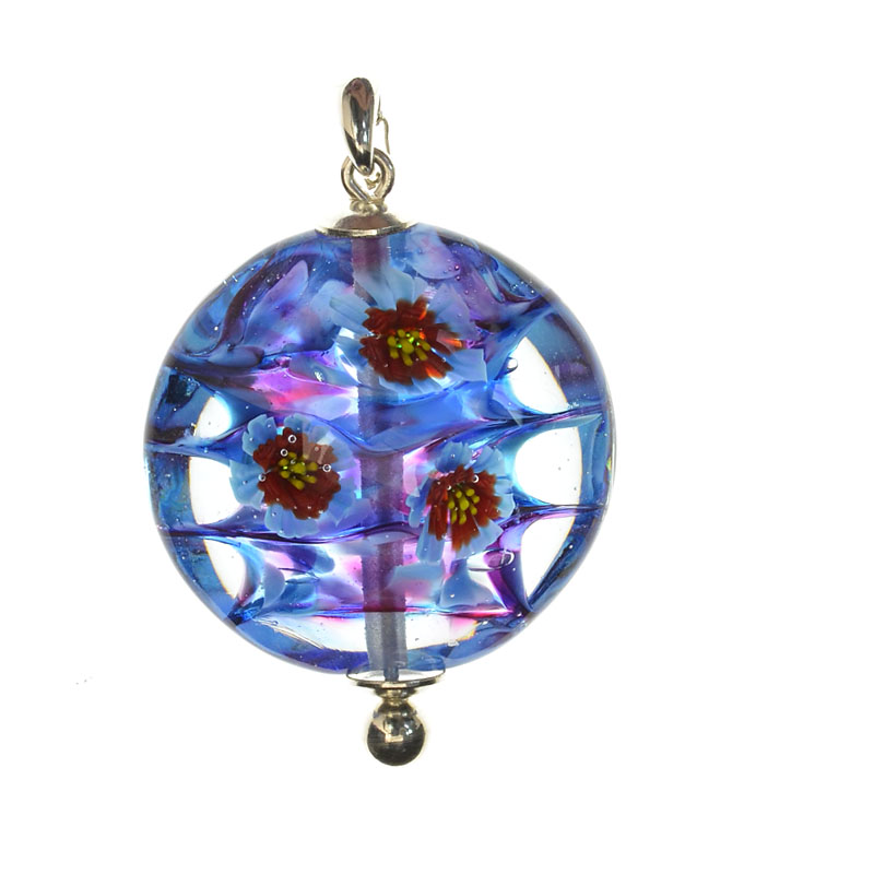 cas59764 Lampwork Bead - OOAK - Lentil - Blue and Blue Red Flowers