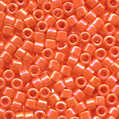 db0161 Delicas - 11/0 Japanese Cylinders - Opaque Orange AB (7.5 g)