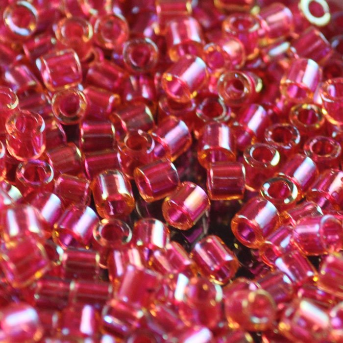 dbl0062 Delicas - 8/0 Japanese Cylinders - Light Cranberry Lined AB (10 grams)