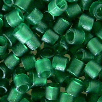 dbl0746 Delicas - 8/0 Japanese Cylinders - Matte Transparent Green (10 grams)