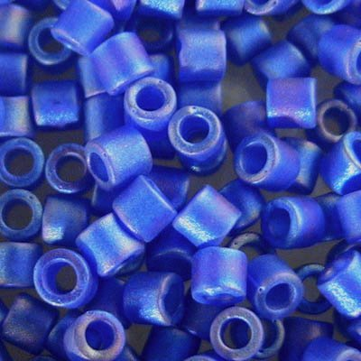 dbl0864 Delicas - 8/0 Japanese Cylinders - Matte Transparent Cobalt AB (10 grams)
