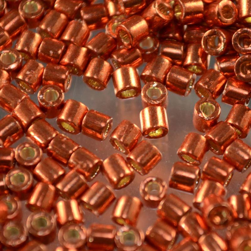 dbl1837 Delicas - 8/0 Japanese Cylinders - Duracoat Galvanized Tangerine (5 grams)
