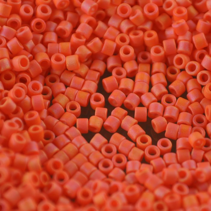 dbm0872 Delicas - 10/0 Japanese Cylinders - Matte Opaque Orange AB