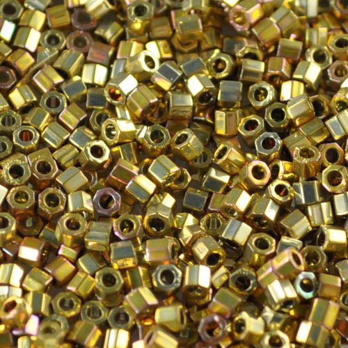 dbmc0501 Delicas - 10/0 Japanese Cylinders - Cut - 24Kt Gold Plated AB (2.5 grams)