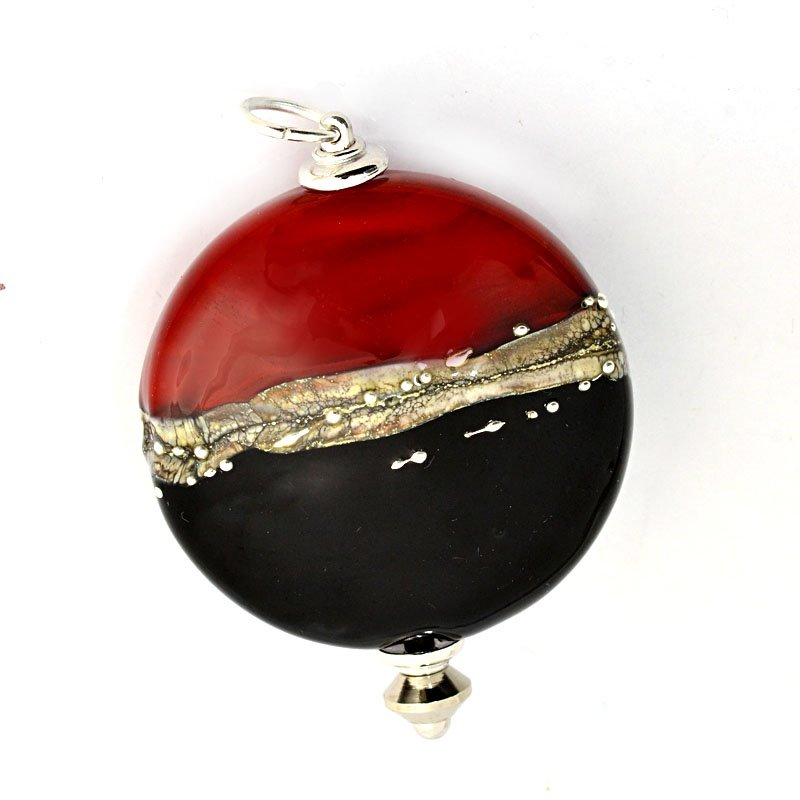 dm59770 Lampwork Bead Pendant -  Lentil - Midnight Pomegranate
