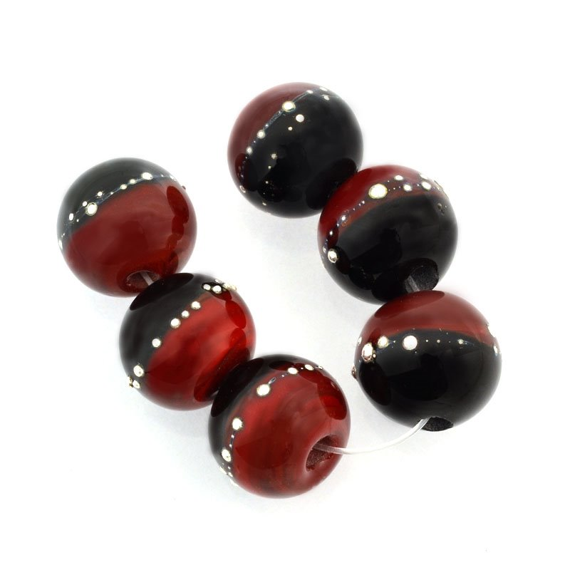 dm59771 Lampwork Bead Pendant -  Round - Midnight Pomegranate (6)