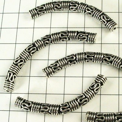 helss3486 Sterling Beads - 33 mm Bali-esque Curved Tube Noodle - Sterling (1)