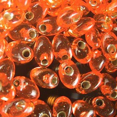lma-8 Miyuki - 4 x 7 mm Long Magatamas - Silver lined Orange (10 grams)