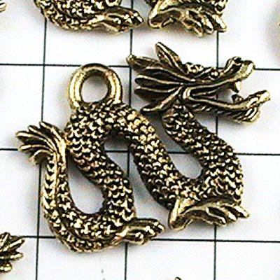 q286nmag Metal Charm -  Chinese Imperial Dragon - Antiqued Gold (1)