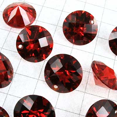 "rt001-05 Cubic Zirconia Drilled Gems - 10 mm Faceted Round Cut - Padparadscha (1) - <font color=""#FF0000"">Discontinued</font> - 70% off!"
