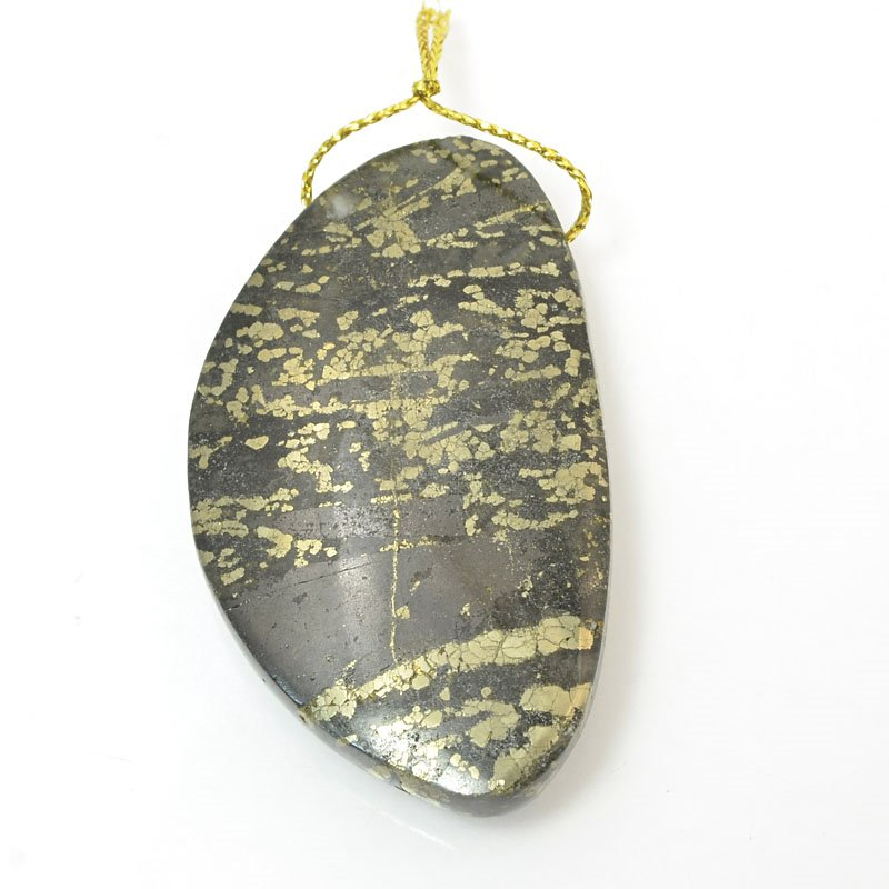 s11484 Stone Pendant - OOAK - 32 x 55 mm Freeform - Pyrite in Magnetite